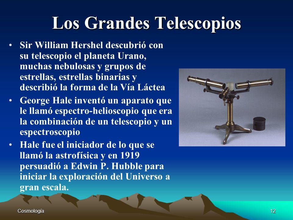 Cosmología12 Los Grandes Telescopios Sir William Hershel descubrió con su telescopio el planeta Urano, muchas nebulosas y grupos de estrellas, estrell