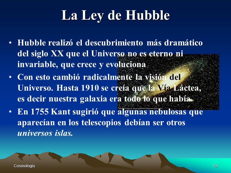 Cosmología13 La Ley de Hubble Hubble realizó el descubrimiento más dramático del siglo XX que el Universo no es eterno ni invariable, que crece y evol