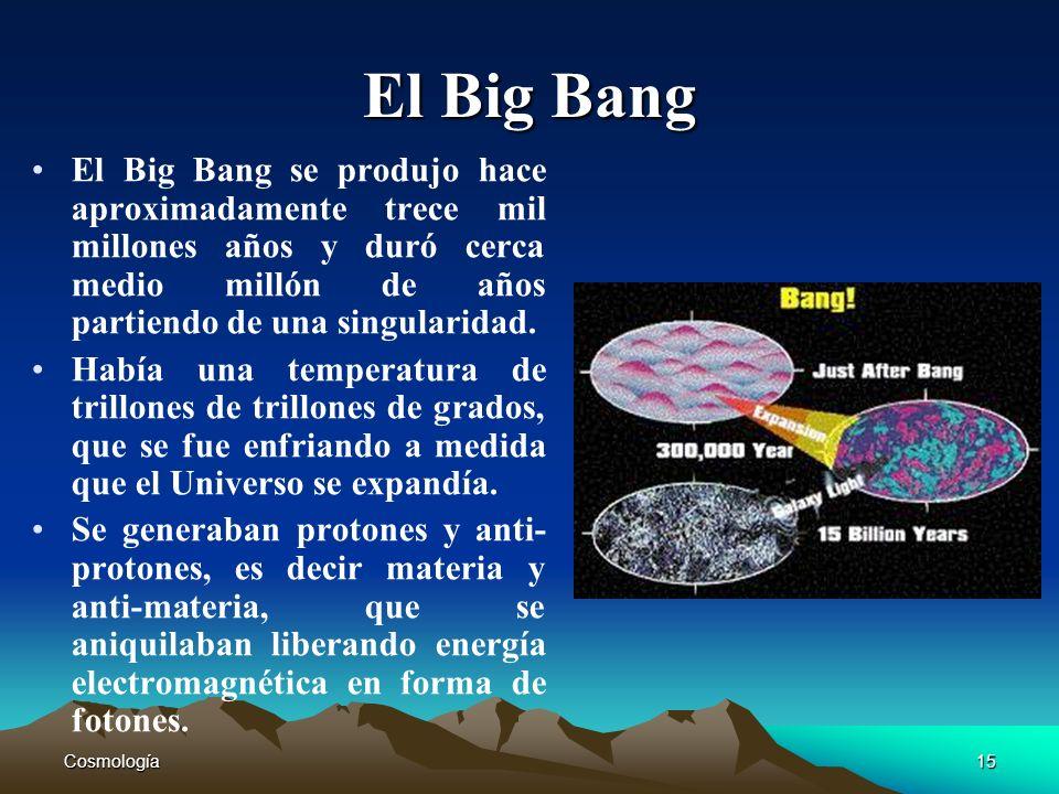 Cosmología15 El Big Bang El Big Bang se produjo hace aproximadamente trece mil millones años y duró cerca medio millón de años partiendo de una singul