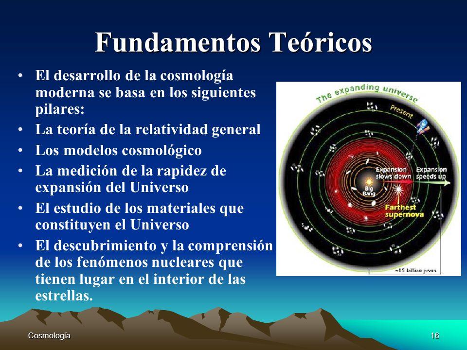 Cosmología16 Fundamentos Teóricos El desarrollo de la cosmología moderna se basa en los siguientes pilares: La teoría de la relatividad general Los mo
