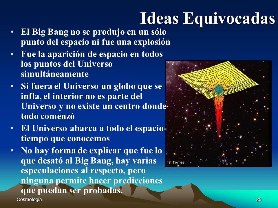 Cosmología20 Ideas Equivocadas El Big Bang no se produjo en un sólo punto del espacio ni fue una explosión Fue la aparición de espacio en todos los pu
