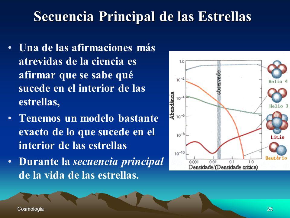 Cosmología25 Secuencia Principal de las Estrellas Una de las afirmaciones más atrevidas de la ciencia es afirmar que se sabe qué sucede en el interior