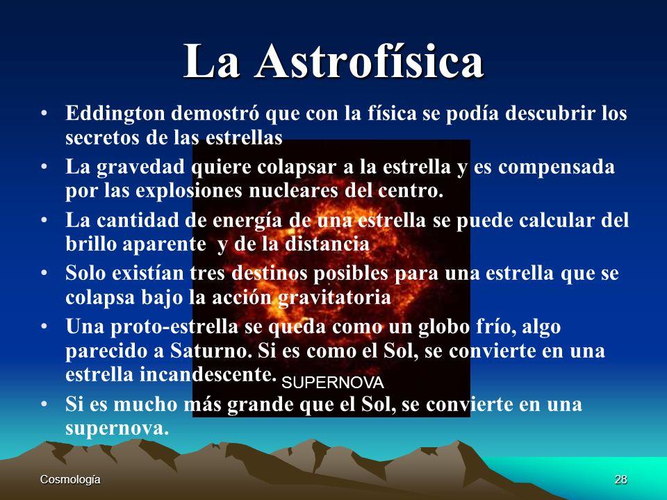 Cosmología28 SUPERNOVA La Astrofísica Eddington demostró que con la física se podía descubrir los secretos de las estrellas La gravedad quiere colapsa