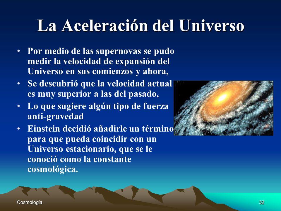 Cosmología32 La Aceleración del Universo Por medio de las supernovas se pudo medir la velocidad de expansión del Universo en sus comienzos y ahora, Se