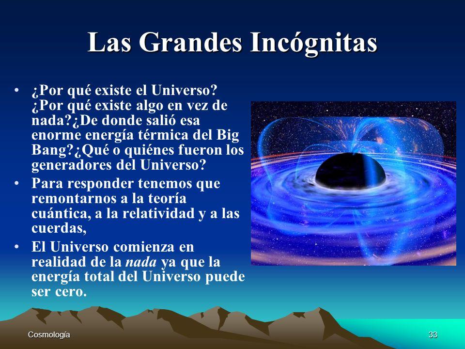 Cosmología33 Las Grandes Incógnitas ¿Por qué existe el Universo? ¿Por qué existe algo en vez de nada?¿De donde salió esa enorme energía térmica del Bi