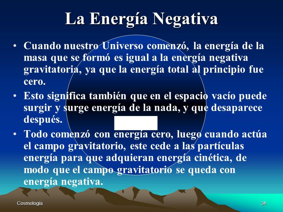 Cosmología34 - La Energía Negativa Cuando nuestro Universo comenzó, la energía de la masa que se formó es igual a la energía negativa gravitatoria, ya
