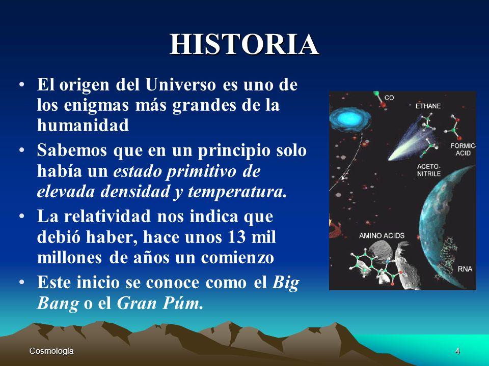 Cosmología4 HISTORIA El origen del Universo es uno de los enigmas más grandes de la humanidad Sabemos que en un principio solo había un estado primiti