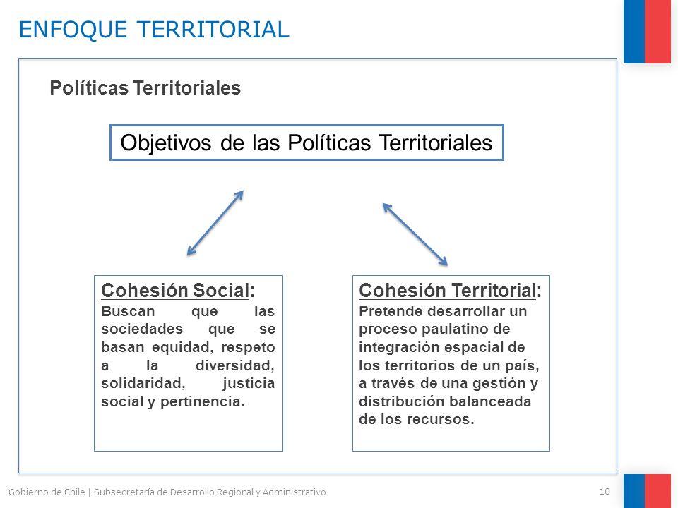 10 Gobierno de Chile | Subsecretaría de Desarrollo Regional y Administrativo Políticas Territoriales Cohesión Social: Buscan que las sociedades que se