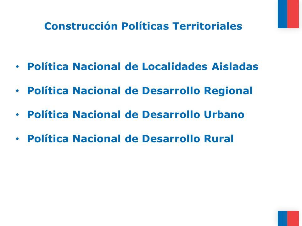 Construcción Políticas Territoriales Política Nacional de Localidades Aisladas Política Nacional de Desarrollo Regional Política Nacional de Desarroll