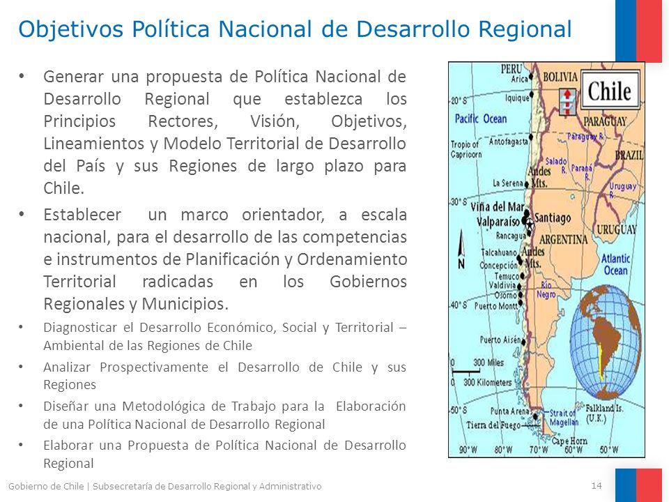 Objetivos Política Nacional de Desarrollo Regional Generar una propuesta de Política Nacional de Desarrollo Regional que establezca los Principios Rec