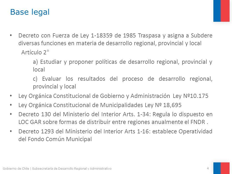 4 Gobierno de Chile | Subsecretaría de Desarrollo Regional y Administrativo Base legal Decreto con Fuerza de Ley 1-18359 de 1985 Traspasa y asigna a S