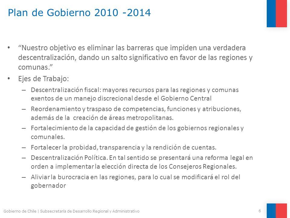 FNDR per cápita v/s PIB per cápita 2010 27 Gobierno de Chile   Subsecretaría de Desarrollo Regional y Administrativo
