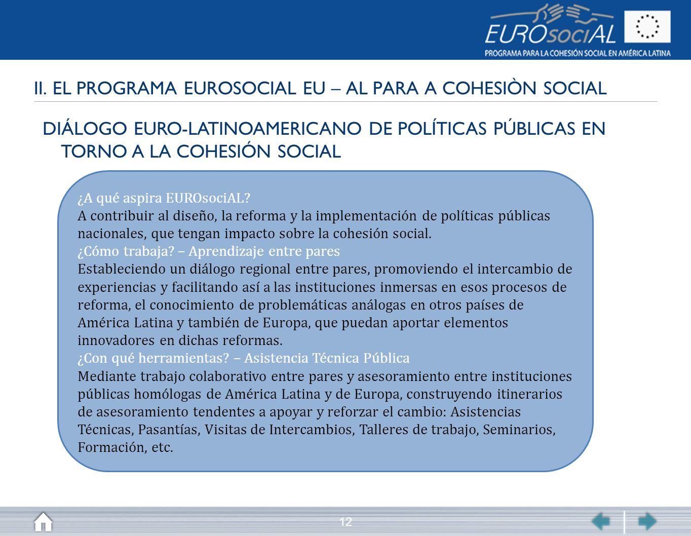 12 II. EL PROGRAMA EUROSOCIAL EU – AL PARA A COHESIÒN SOCIAL DIÁLOGO EURO-LATINOAMERICANO DE POLÍTICAS PÚBLICAS EN TORNO A LA COHESIÓN SOCIAL ¿A qué a