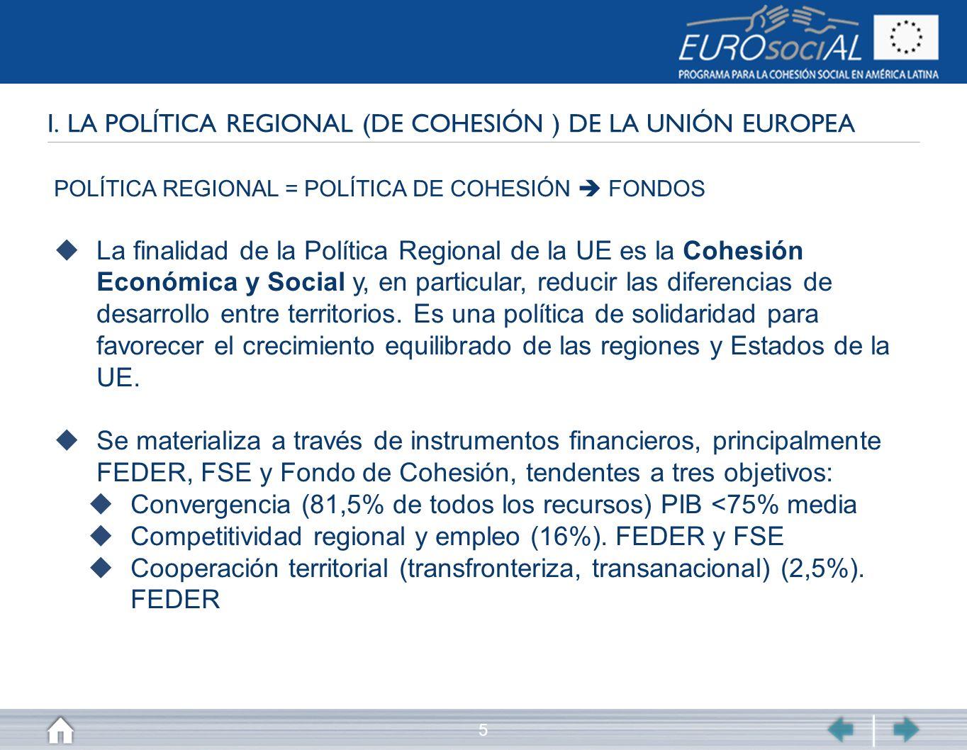 5 I. LA POLÍTICA REGIONAL (DE COHESIÓN ) DE LA UNIÓN EUROPEA POLÍTICA REGIONAL = POLÍTICA DE COHESIÓN FONDOS La finalidad de la Política Regional de l