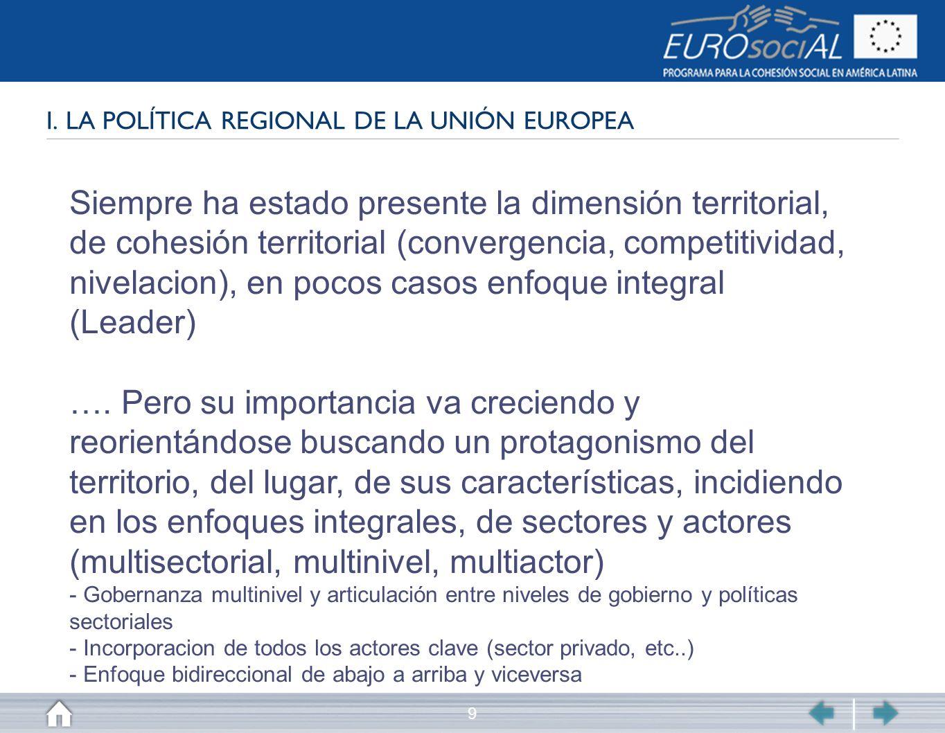 9 I. LA POLÍTICA REGIONAL DE LA UNIÓN EUROPEA Siempre ha estado presente la dimensión territorial, de cohesión territorial (convergencia, competitivid