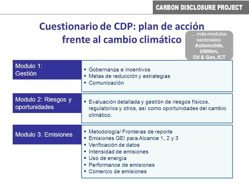 Cuestionario de CDP: plan de acción frente al cambio climático Gobernanza e incentivos Metas de reducción y estrategias Comunicación Modulo 1: Gestión