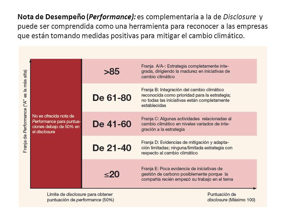 Nota de Desempeño (Performance): es complementaria a la de Disclosure y puede ser comprendida como una herramienta para reconocer a las empresas que e