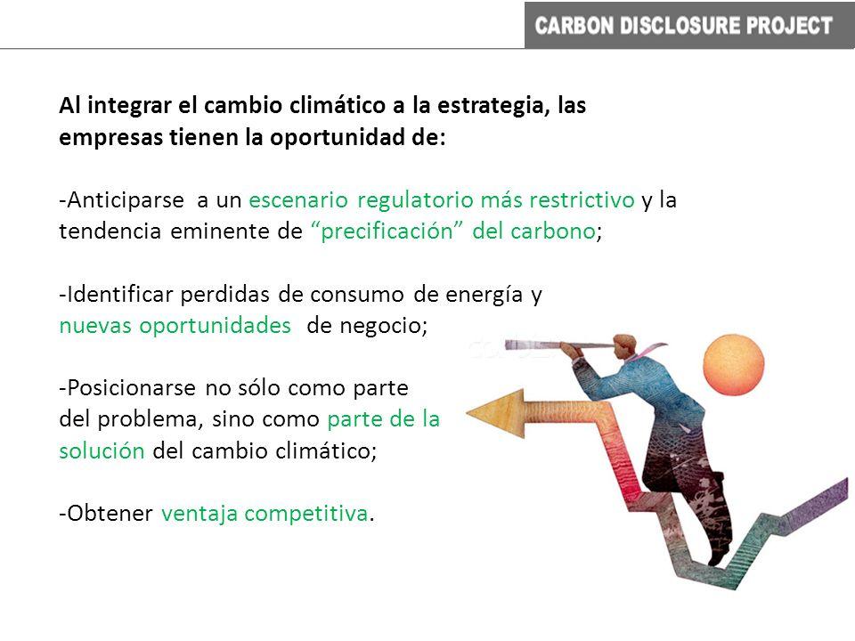 Al integrar el cambio climático a la estrategia, las empresas tienen la oportunidad de: -Anticiparse a un escenario regulatorio más restrictivo y la t