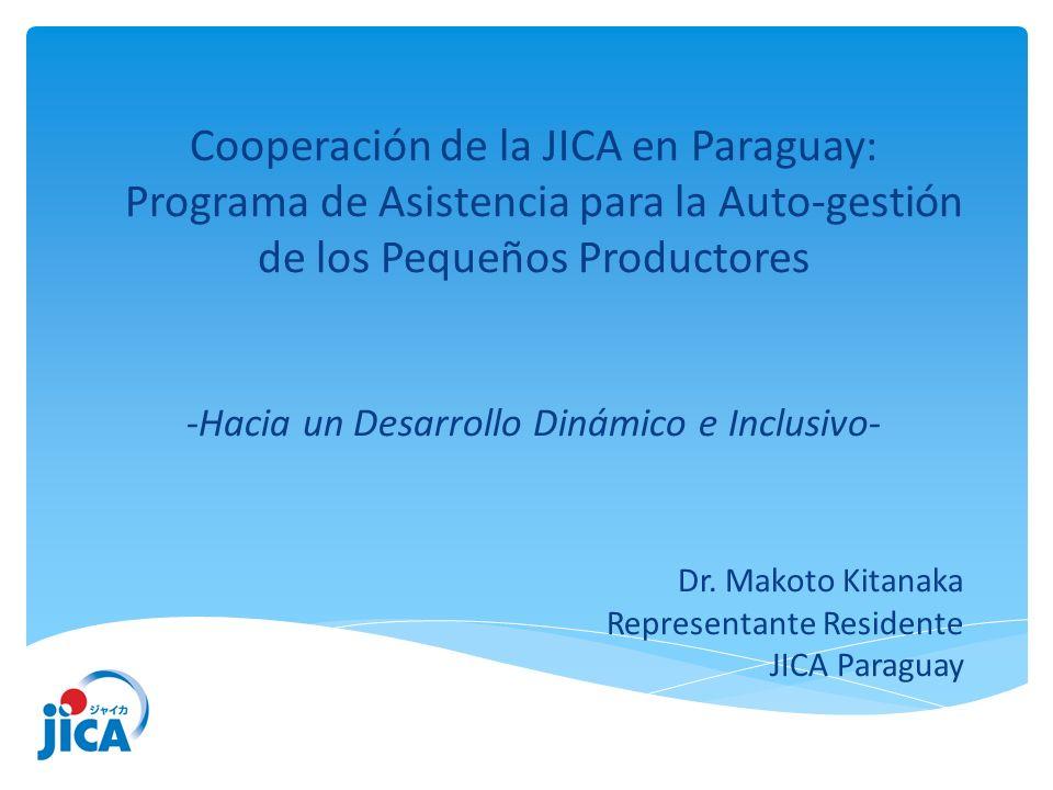 1.Generalidades de la Cooperación de la JICA en el Paraguay 2.Transformación de la política de cooperación de la JICA por el Estudio de Desarrollo Rural Integral dirigido al Pequeño Productor (EDRIPP) 3.Concepto del Programa de Asistencia a la Autogestión de los Pequeños Productores 4.Desafío para establecer una nueva alianza con el Sector Privado Índice