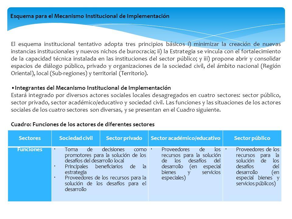 Esquema para el Mecanismo Institucional de Implementación Sectores Sociedad civilSector privado Sector académico/educativo Sector público Funciones To
