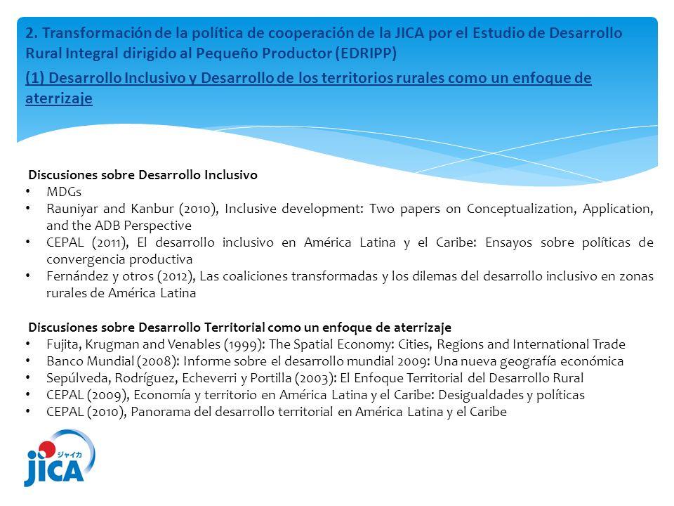 (2) Formulación de estrategias para un desarrollo inclusivo en los territorios rurales Cambio de la política del gobierno paraguayo (el gobierno de Nicanor Frutos: 2003-2008) dando más énfasis en los apoyos a los pequeños productores (desarrollo rural inclusivo) Falta de una estrategia de mediano y largo plazo para llevar a cabo los programas del gobierno en el desarrollo rural inclusivo: Necesidad de una Cooperación Técnica de Tipo Estudio para el desarrollo Estudio para el Desarrollo Rural Integral Dirigido al Pequeño Productor (EDRIPP): Gobierno paraguayo (Coordinación Interinstitucional y Multisectorial de Contraparte (CIMC*) y JICA *Basado en el Decreto 648/08, constituida por representantes de la Presidencia (PR), Ministerio de Hacienda (MH), Ministerio de Agricultura y Ganadería (MAG), Secretaría Técnica de Planificación (STP), Secretaría del Ambiente (SEAM), Instituto de Desarrollo Rural y de la Tierra (INDERT) y las organizaciones de su coordinación política está a cargo de la Secretaría General y Gabinete Civil de la Presidencia de la República y la coordinación técnica a cargo del Jefe del Equipo Económico Nacional (EEN) y del Ministerio de Hacienda.