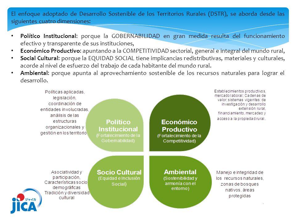 El enfoque adoptado de Desarrollo Sostenible de los Territorios Rurales (DSTR), se aborda desde las siguientes cuatro dimensiones: Político Institucio