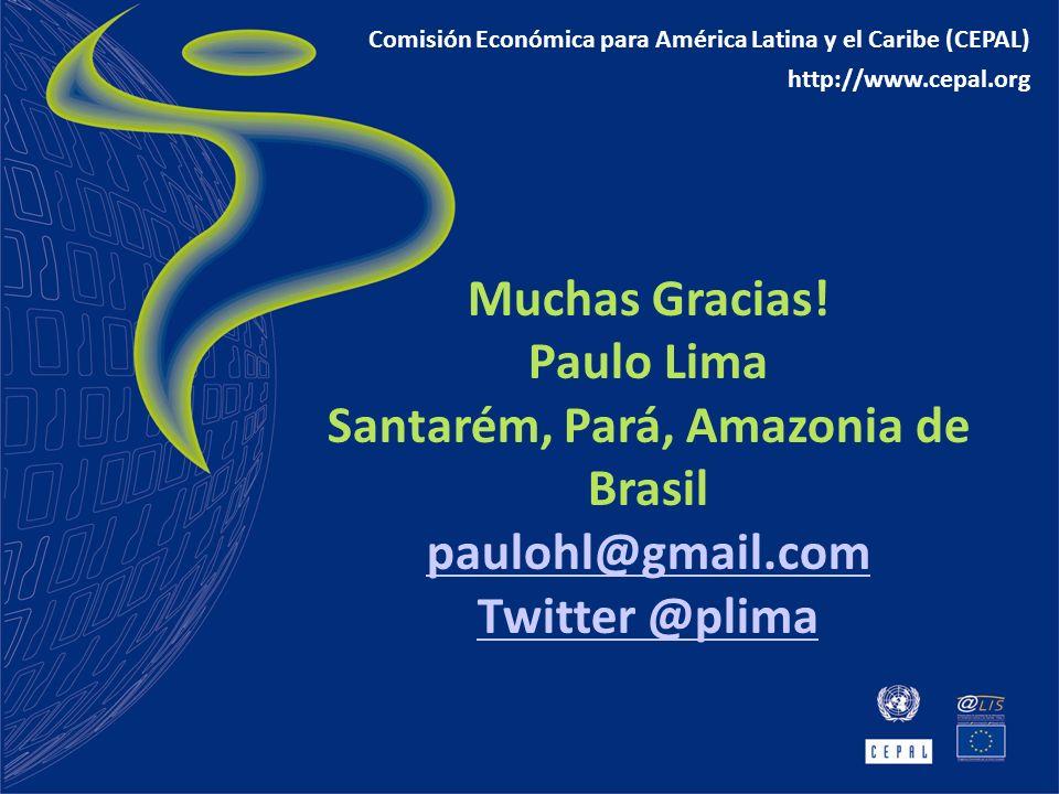 Muchas Gracias! Paulo Lima Santarém, Pará, Amazonia de Brasil paulohl@gmail.com Twitter @plima Comisión Económica para América Latina y el Caribe (CEP