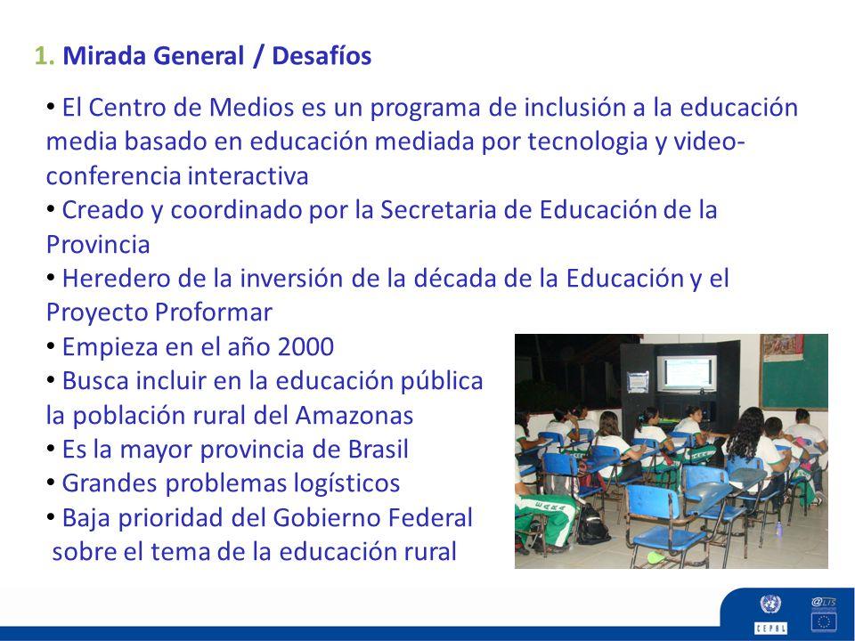 1. Mirada General / Desafíos El Centro de Medios es un programa de inclusión a la educación media basado en educación mediada por tecnologia y video-