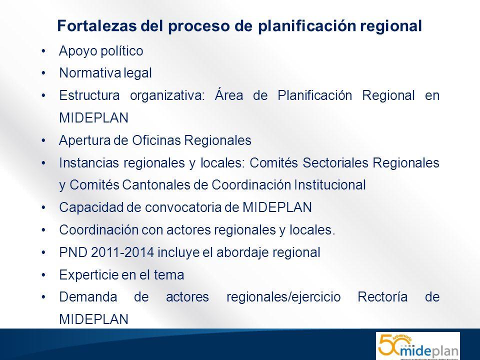 Apoyo político Normativa legal Estructura organizativa: Área de Planificación Regional en MIDEPLAN Apertura de Oficinas Regionales Instancias regionales y locales: Comités Sectoriales Regionales y Comités Cantonales de Coordinación Institucional Capacidad de convocatoria de MIDEPLAN Coordinación con actores regionales y locales.
