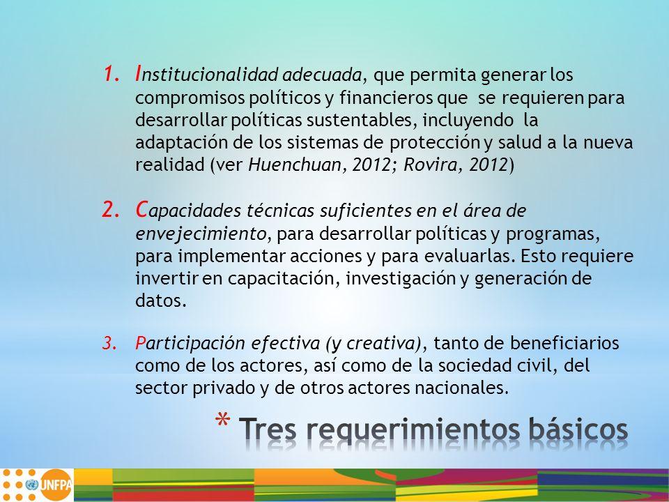 1.I nstitucionalidad adecuada, que permita generar los compromisos políticos y financieros que se requieren para desarrollar políticas sustentables, i