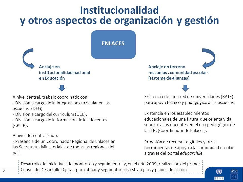 Institucionalidad y otros aspectos de organización y gestión 6 Anclaje en institucionalidad nacional en Educación A nivel central, trabajo coordinado con: - División a cargo de la integración curricular en las escuelas (DEG).