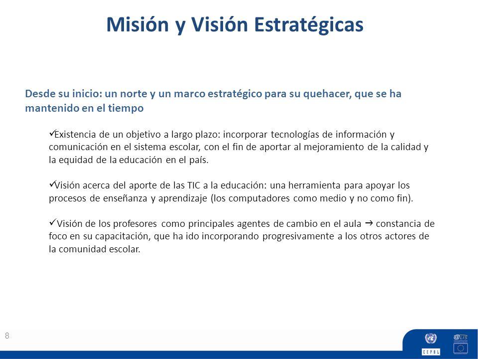 Misión y Visión Estratégicas 8 Desde su inicio: un norte y un marco estratégico para su quehacer, que se ha mantenido en el tiempo Existencia de un objetivo a largo plazo: incorporar tecnologías de información y comunicación en el sistema escolar, con el fin de aportar al mejoramiento de la calidad y la equidad de la educación en el país.