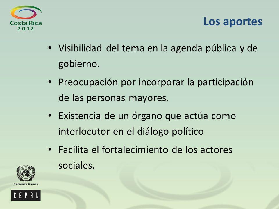 Los aportes Visibilidad del tema en la agenda pública y de gobierno.
