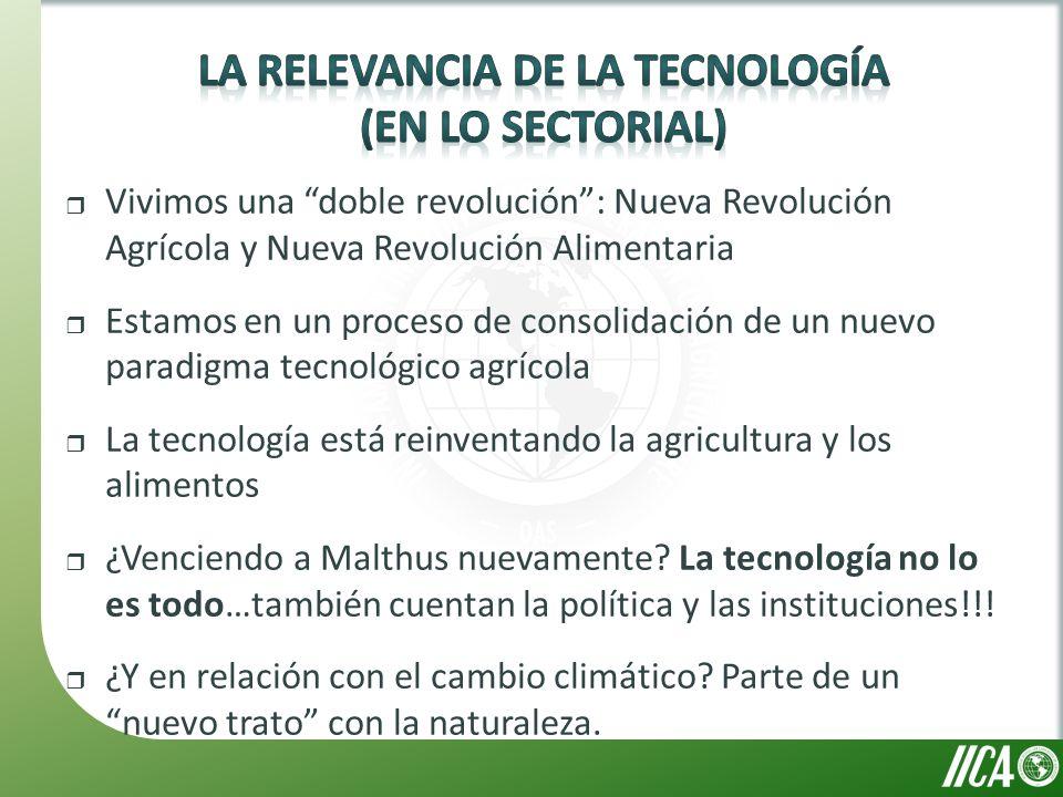 Vivimos una doble revolución: Nueva Revolución Agrícola y Nueva Revolución Alimentaria Estamos en un proceso de consolidación de un nuevo paradigma tecnológico agrícola La tecnología está reinventando la agricultura y los alimentos ¿Venciendo a Malthus nuevamente.