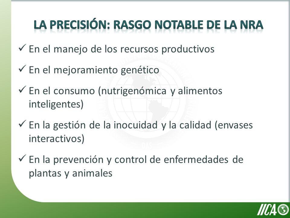 En el manejo de los recursos productivos En el mejoramiento genético En el consumo (nutrigenómica y alimentos inteligentes) En la gestión de la inocuidad y la calidad (envases interactivos) En la prevención y control de enfermedades de plantas y animales