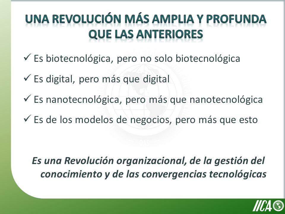 Es biotecnológica, pero no solo biotecnológica Es digital, pero más que digital Es nanotecnológica, pero más que nanotecnológica Es de los modelos de negocios, pero más que esto Es una Revolución organizacional, de la gestión del conocimiento y de las convergencias tecnológicas