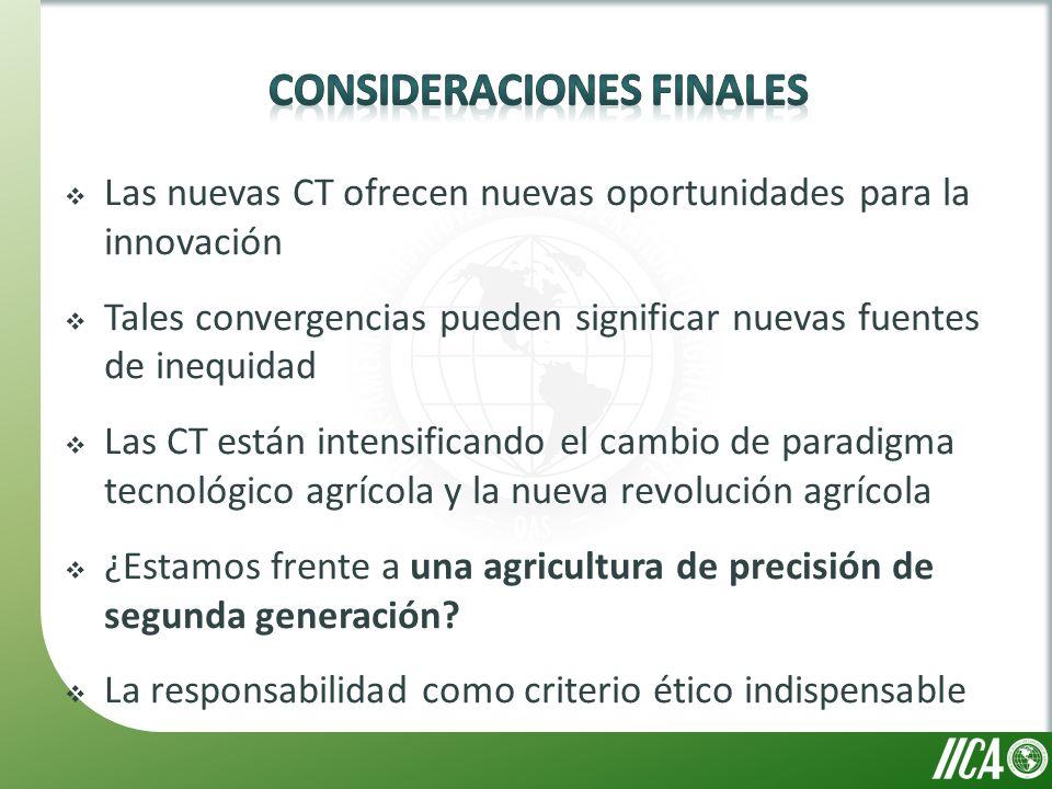 Las nuevas CT ofrecen nuevas oportunidades para la innovación Tales convergencias pueden significar nuevas fuentes de inequidad Las CT están intensificando el cambio de paradigma tecnológico agrícola y la nueva revolución agrícola ¿Estamos frente a una agricultura de precisión de segunda generación.