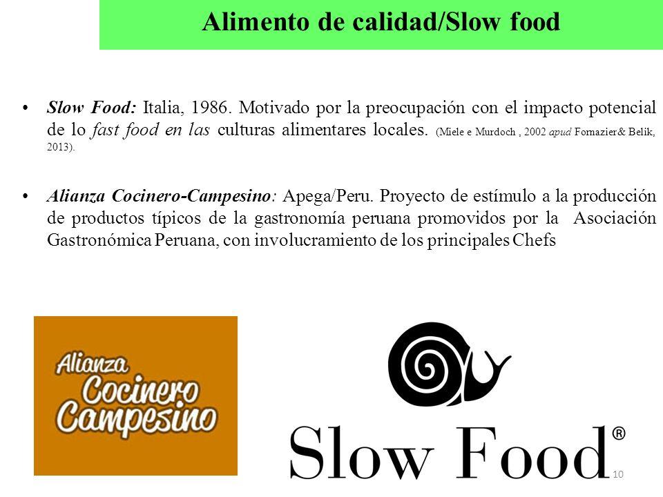 Slow Food: Italia, 1986. Motivado por la preocupación con el impacto potencial de lo fast food en las culturas alimentares locales. (Miele e Murdoch,