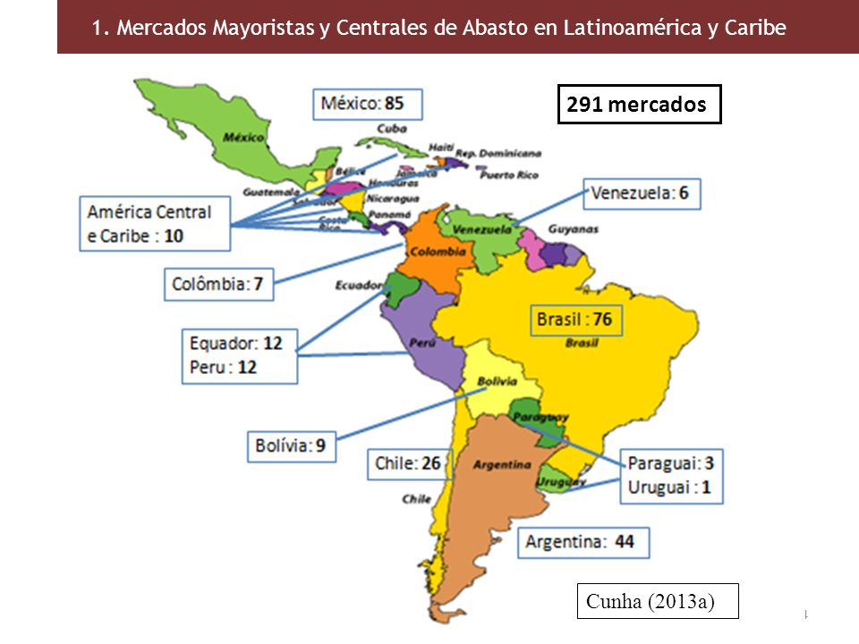 1. Mercados Mayoristas y Centrales de Abasto en Latinoamérica y Caribe 14 291 mercados Cunha (2013a)