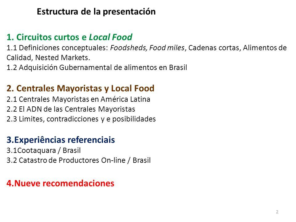 23 1.Las CM son agentes operacionales importantes en los sistemas de agricultura y distribución locales; 2.Hay un esfuerzo nacional en Brasil en identificar, valorizar y priorizar productores locales como agentes de fornecimiento para el consumo local; 3.Las estadísticas oficiales apuntan solamente los locales de producción, mientras que los datos de las CM captan la origen del fornecimiento comercial; 4.A mayoría de las CM tiene datos estadísticos sobre cuantidad comercializada y origen de los productos, lo que permite establecer proyectos con énfasis food miles para identificar zonas productivas especializadas; ….