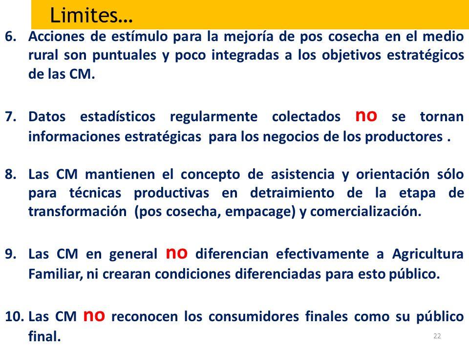 22 6.Acciones de estímulo para la mejoría de pos cosecha en el medio rural son puntuales y poco integradas a los objetivos estratégicos de las CM. 7.D
