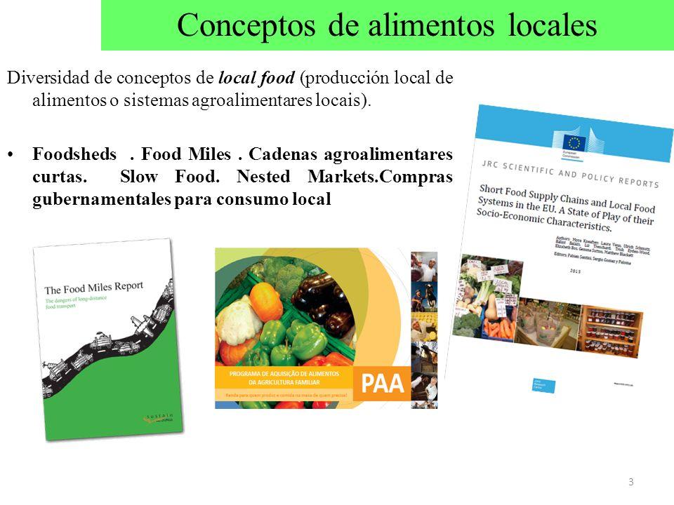 Diversidad de conceptos de local food (producción local de alimentos o sistemas agroalimentares locais). Foodsheds. Food Miles. Cadenas agroalimentare