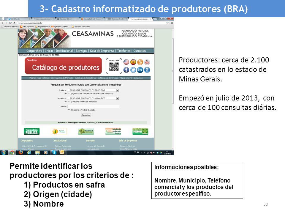 30 3- Cadastro informatizado de produtores (BRA) Permite identificar los productores por los criterios de : 1) Productos en safra 2) Origen (cidade) 3