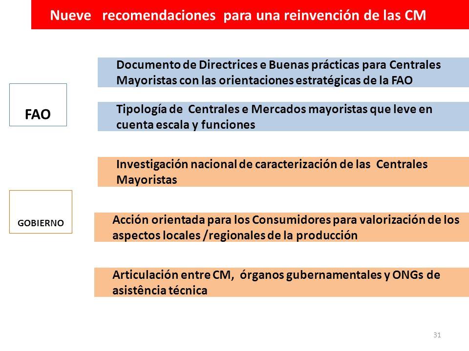31 FAO Nueve recomendaciones para una reinvención de las CM Acción orientada para los Consumidores para valorización de los aspectos locales /regional