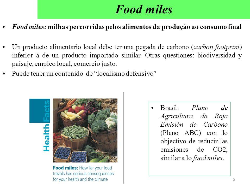 Food miles: milhas percorridas pelos alimentos da produção ao consumo final Un producto alimentario local debe ter una pegada de carbono (carbon footp