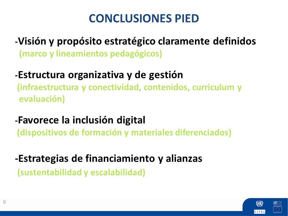 9 CONCLUSIONES PIED - Visión y propósito estratégico claramente definidos (marco y lineamientos pedagógicos) - Estructura organizativa y de gestión (i