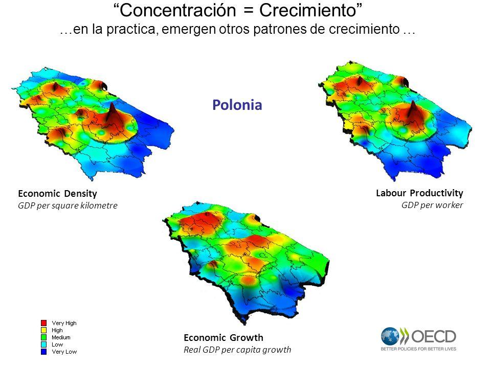 Concentración = Crecimiento …en la practica, emergen otros patrones de crecimiento … Economic Density GDP per square kilometre Labour Productivity GDP