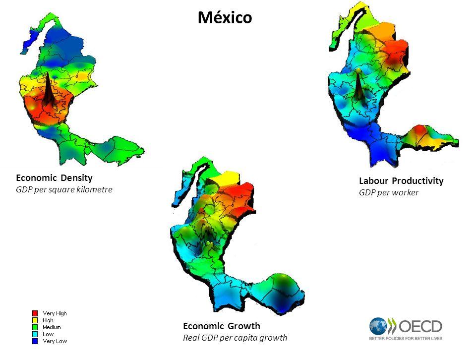 México Economic Density GDP per square kilometre Labour Productivity GDP per worker Economic Growth Real GDP per capita growth