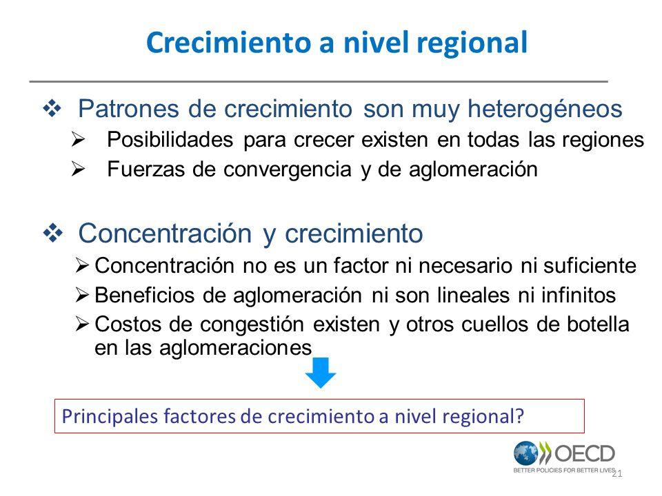 Crecimiento a nivel regional Patrones de crecimiento son muy heterogéneos Posibilidades para crecer existen en todas las regiones Fuerzas de convergen