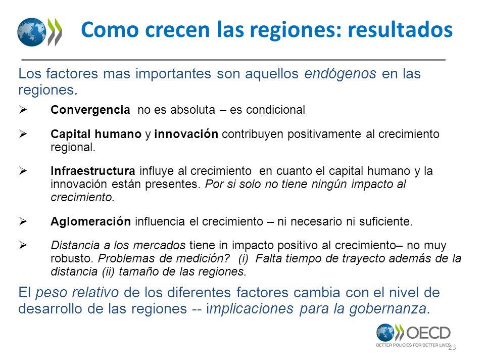 Como crecen las regiones: resultados Los factores mas importantes son aquellos endógenos en las regiones. Convergencia no es absoluta – es condicional